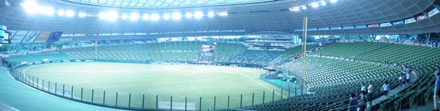 西武ドーム レフトスタンドから球場全体を写したパノラマ写真