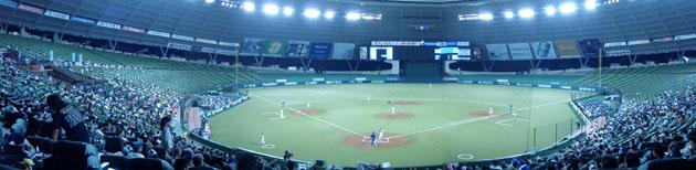 西武ドーム ホーム裏から球場全体を写したパノラマ写真