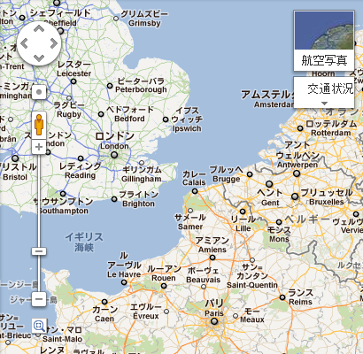 Googleマップ 日本語での表示中