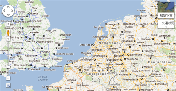 Googleマップ ヨーロッパの現地語表記時のスクリーンキャプチャ