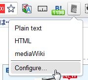 クリエイトリンクをクリックし、メニューからConfigureを選ぶ