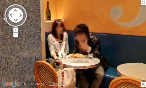 Googleマップストリートビューの347cafe店内、店の奥に居るカップルのスクリーンキャプチャ