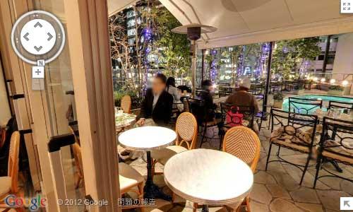 Googleマップストリートビューの347cafe店内のスクリーンキャプチャ
