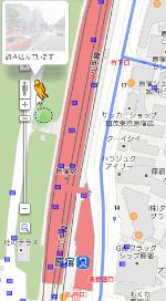 Googleマップで店内ストリートビュー可能な店を見つける手順の2 人形アイコンのドラッグ