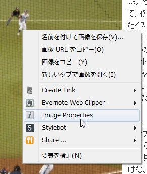 Image Properties Context MenuをChromeにインストールすることで表示されるようになる右クリックメニュー